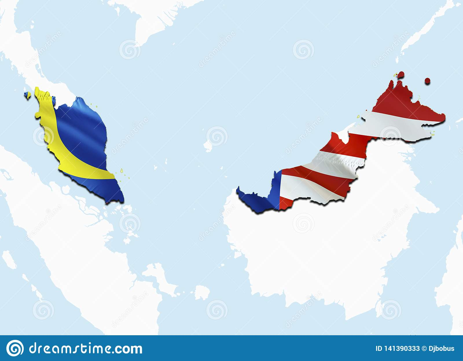 Map Of Asia Malaysia.Flag Map Of Malaysia 3d Rendering Malaysia Map And Flag On Asia Map