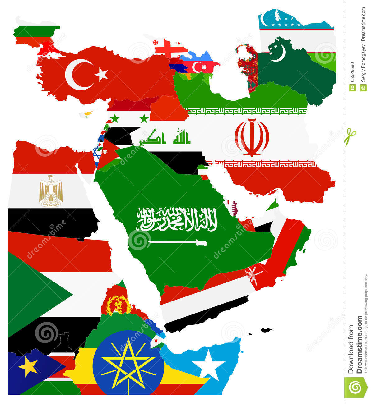 Flag Map Of The Middle East Stock Vector Illustration Of Border