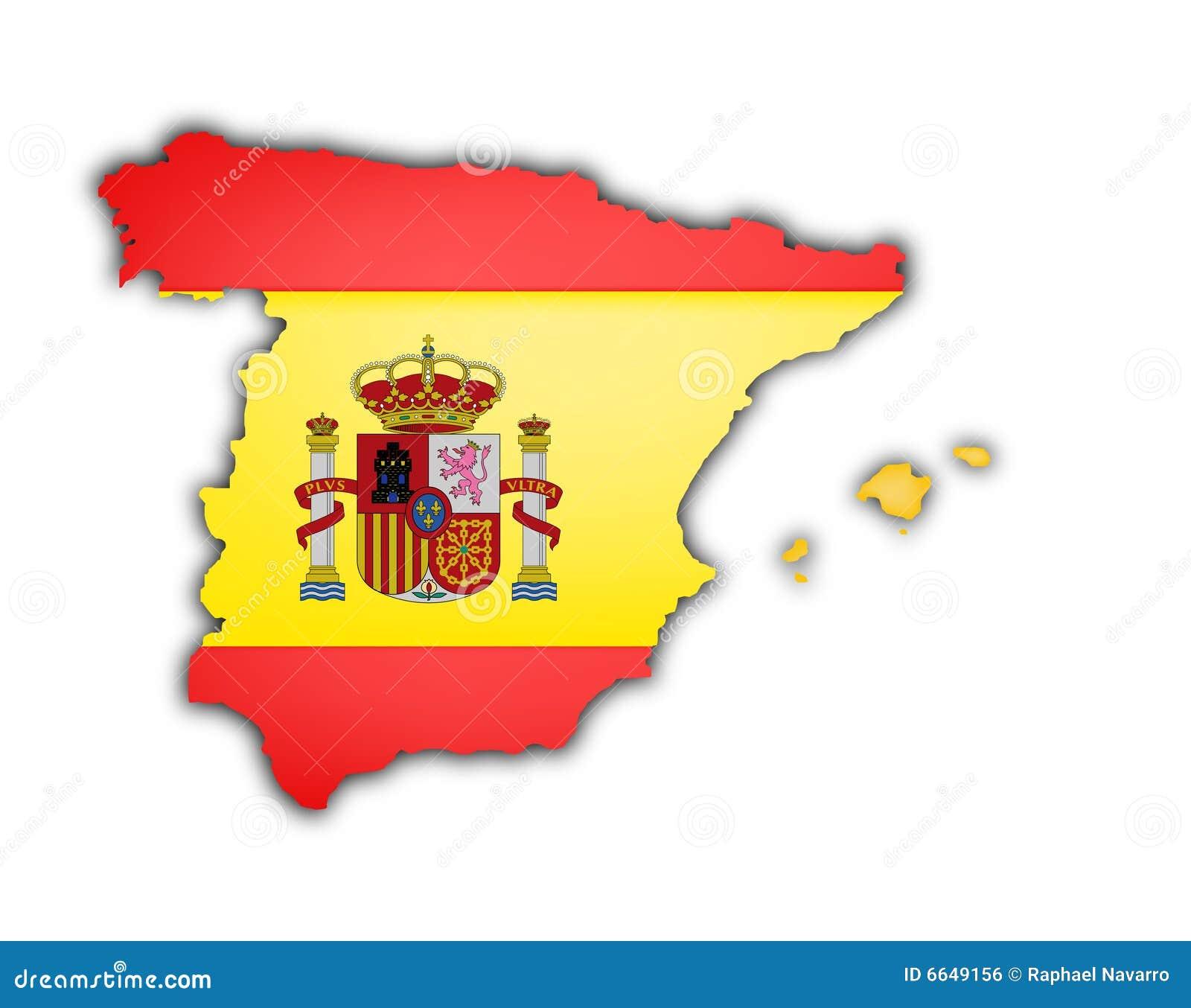 spain flag map stock illustration image 49670820