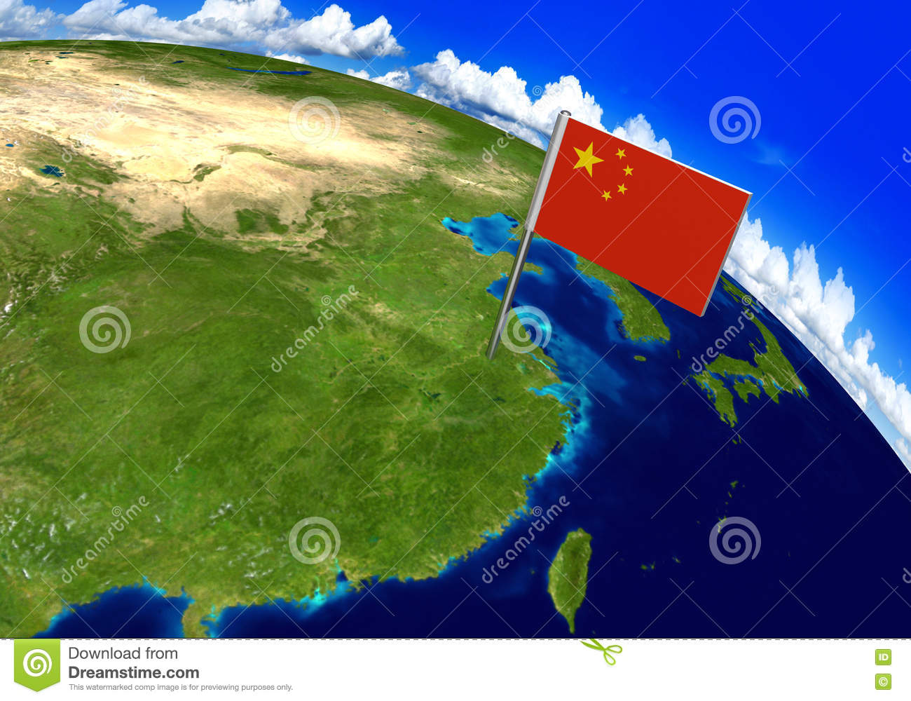 Flag Marker Over Country Of China On World Map 3D Rendering Stock ...