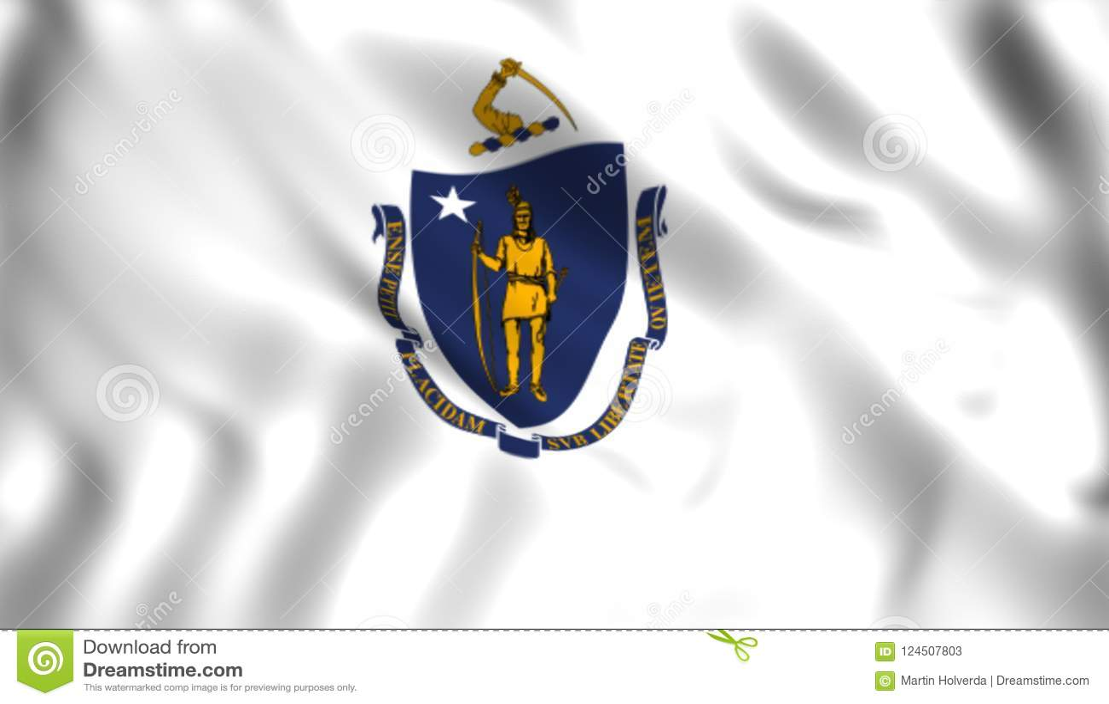 Flag Massachusetts State Us State Symbol Stock Illustration