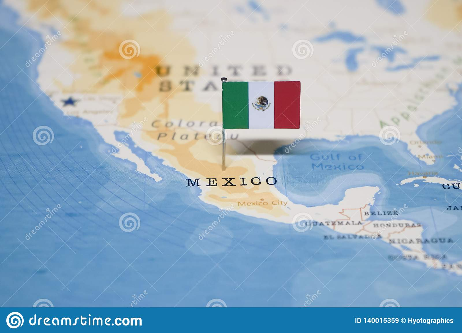 The Flag of mexico in the world map