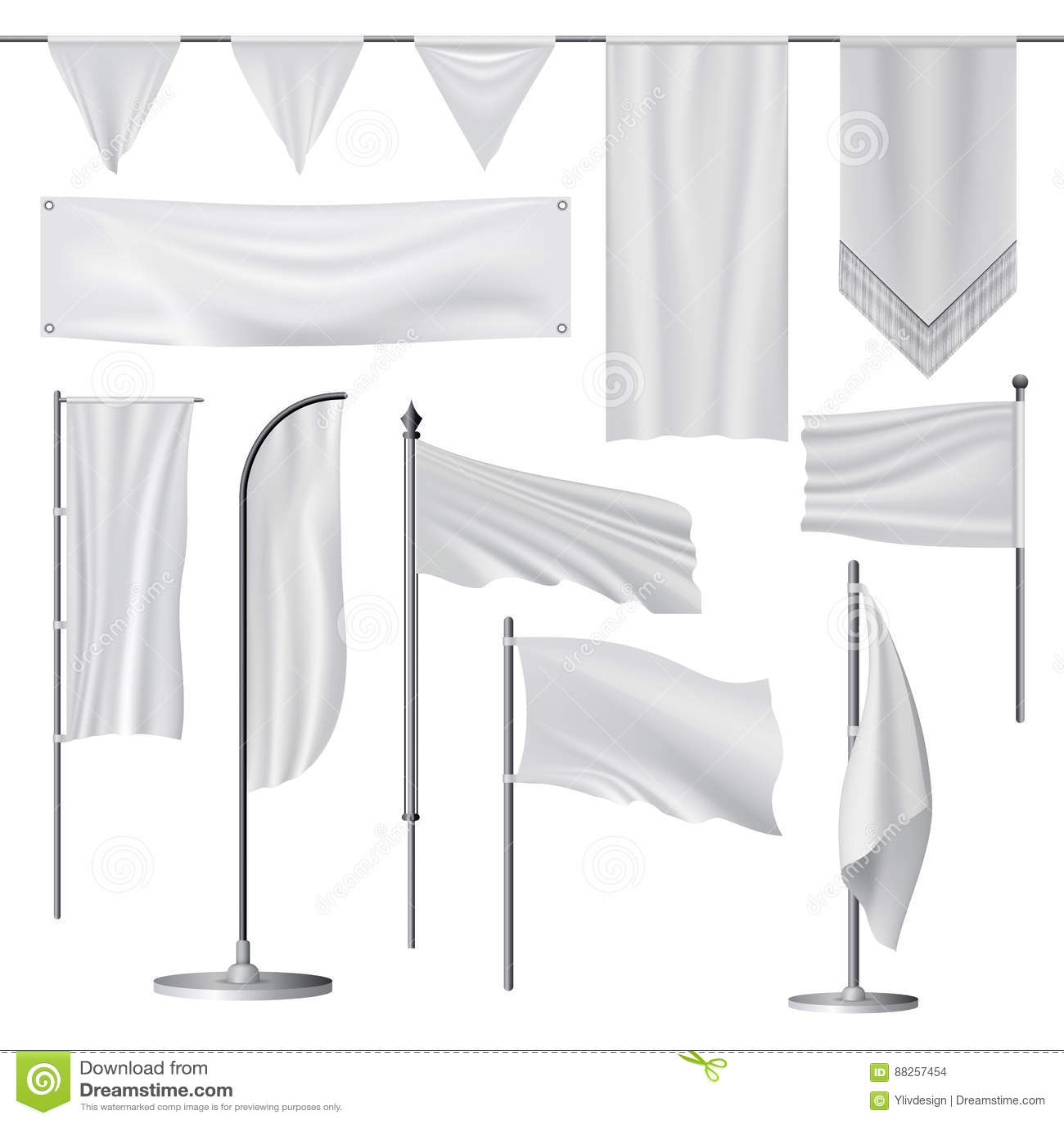 Flag Mockup Set, Realistic Style Stock Vector - Illustration of