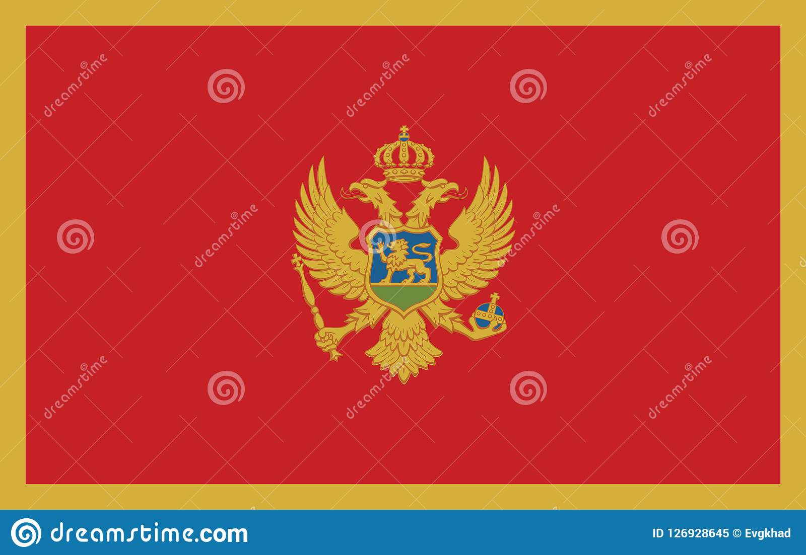 Flag of Montenegro  illustration. This image is a  illustration and can be scaled to any size without loss of resolution Stock Illustration