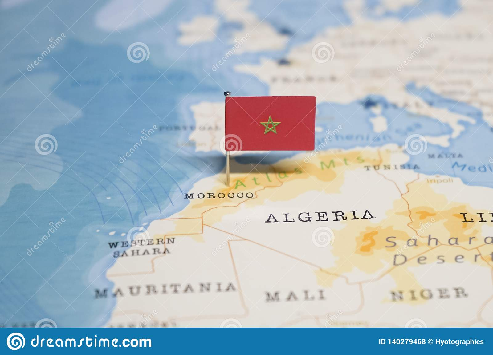The Flag of morocco in the world map