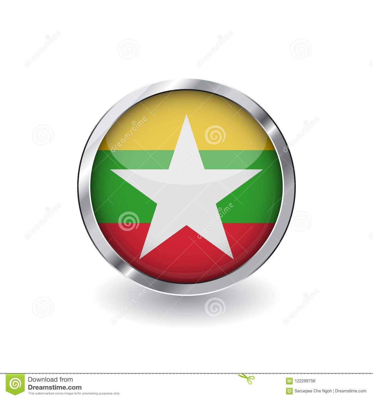 Flag Of Myanmar, Button With Metal Frame And Shadow. Myanmar Flag ...