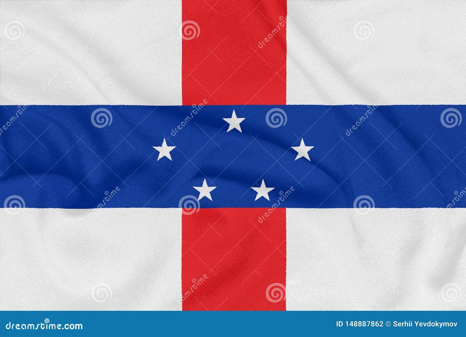 Flag of Netherlands Antilles on textured fabric. Patriotic symbol