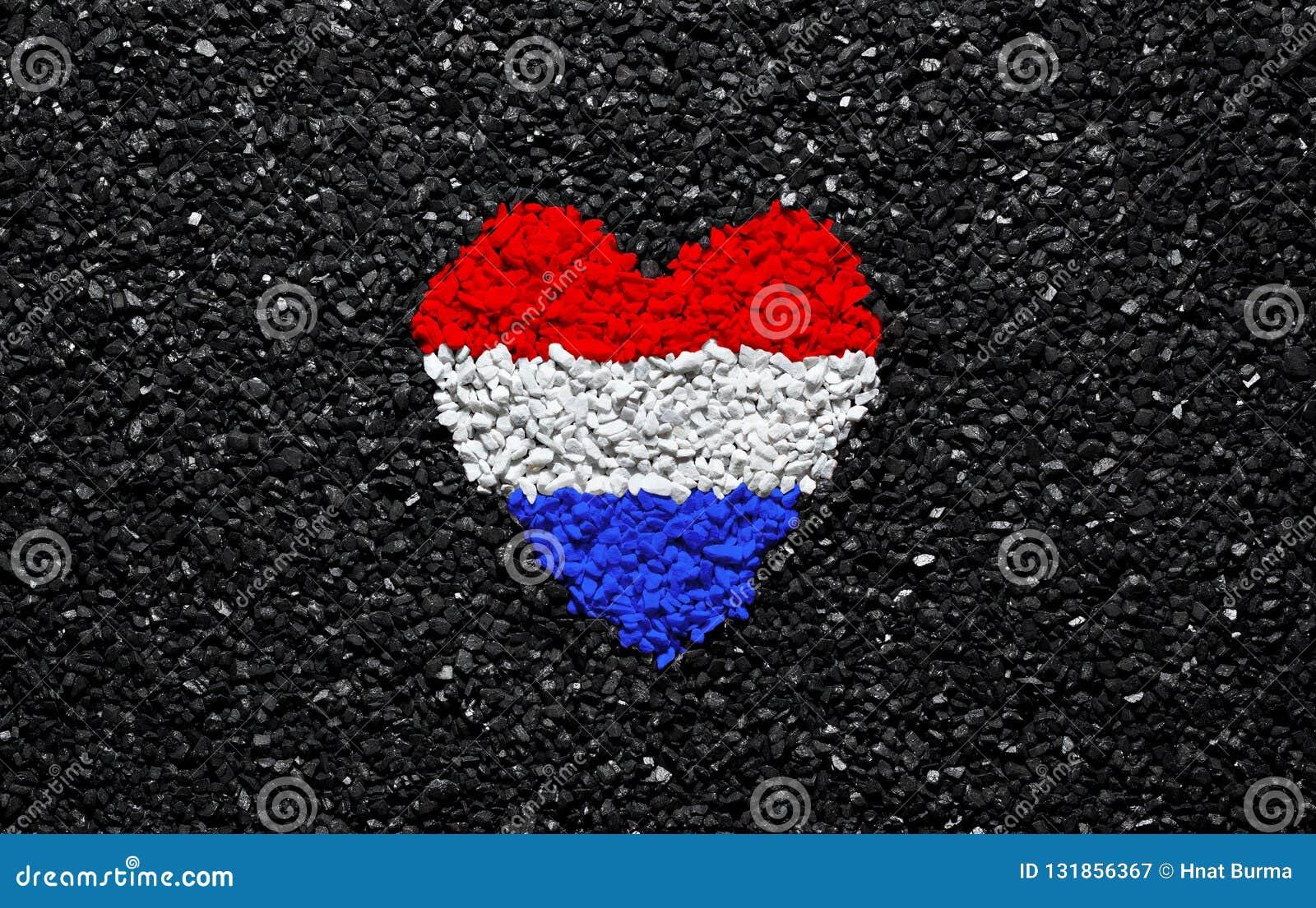 Flag Of Netherlands Heart On The Black Background Stones Gravel