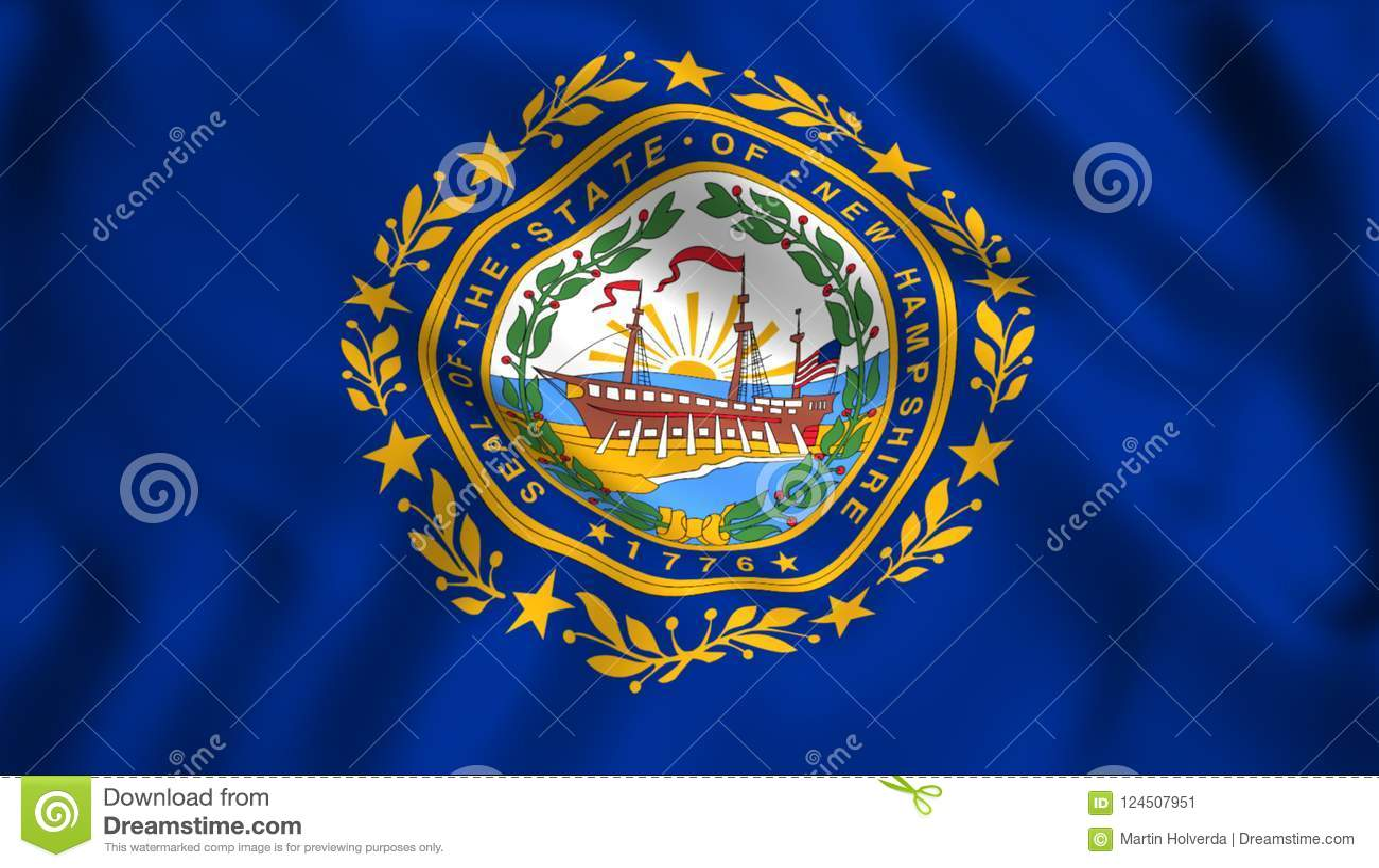 Flag New Hampshire Us State Stock Illustration Illustration Of
