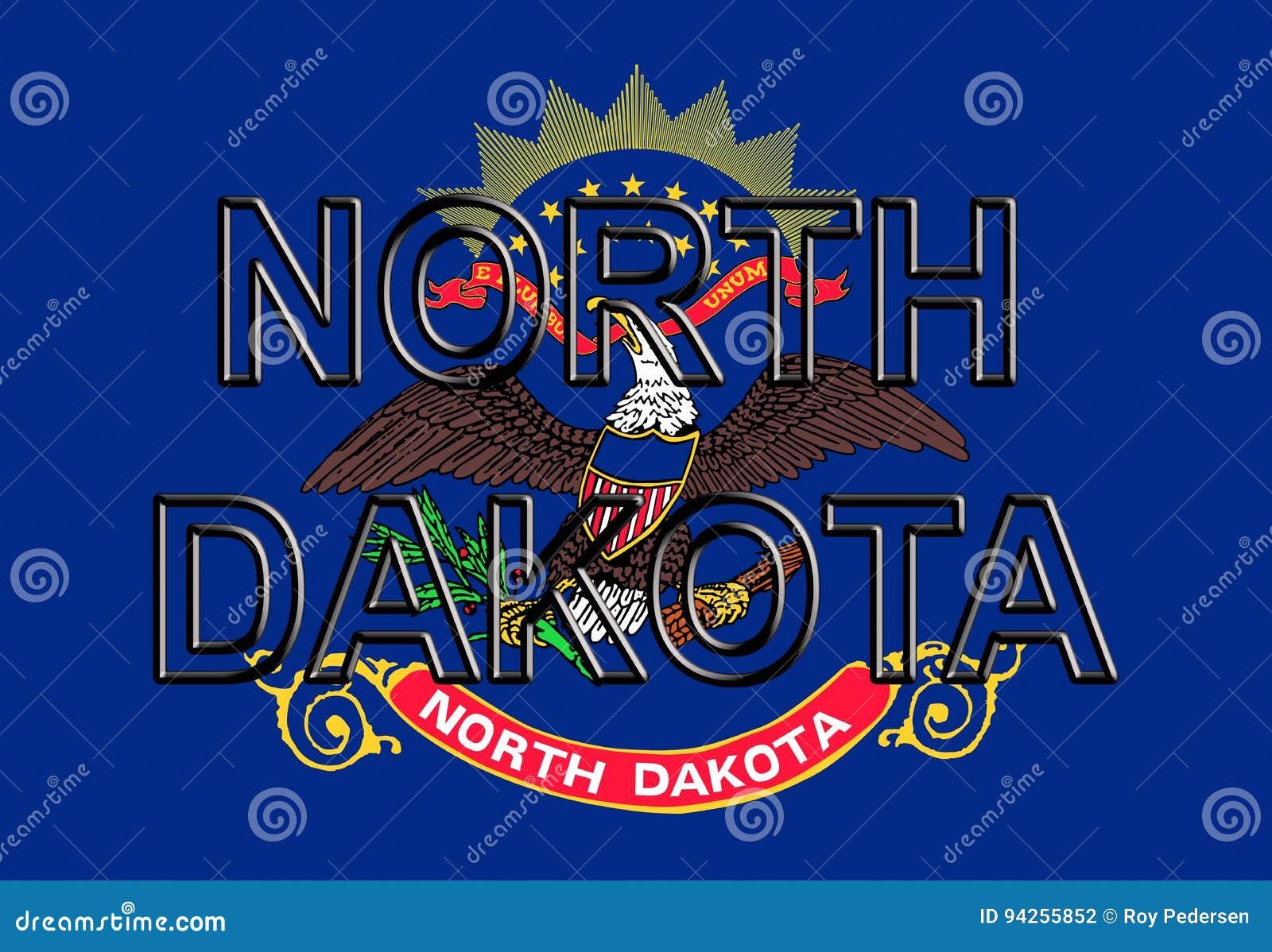 Flag Of North Dakota Word Stock Illustration Illustration Of