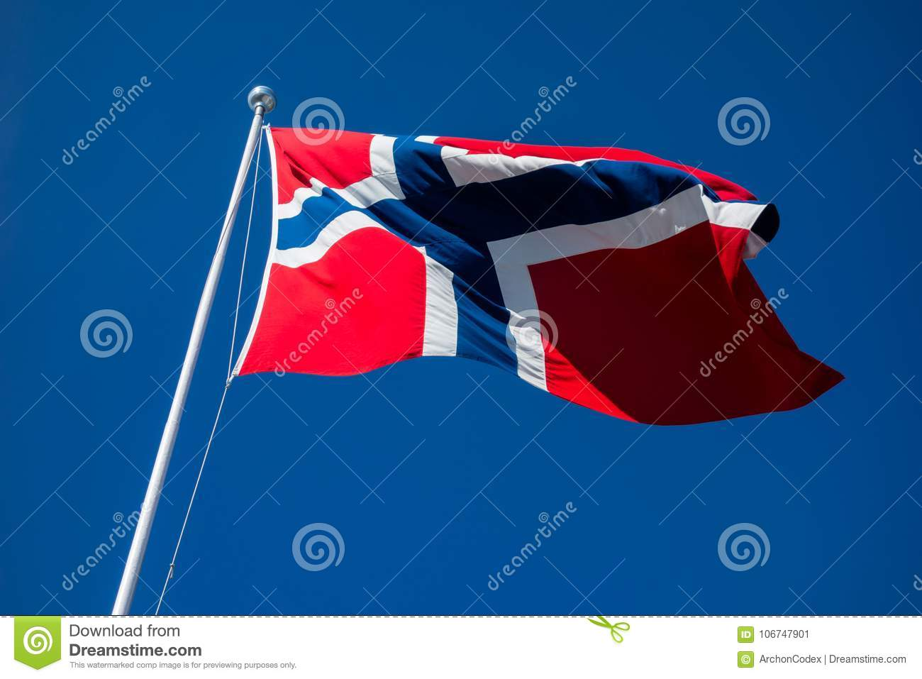 Flag of Norway flapping in wind.