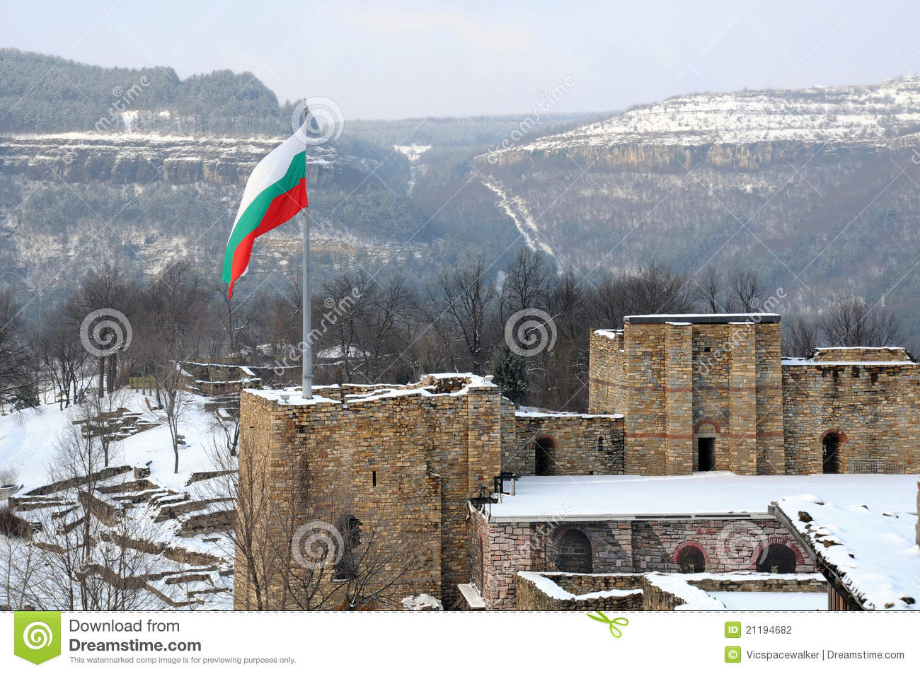 Flag over Tsarevets Fortress