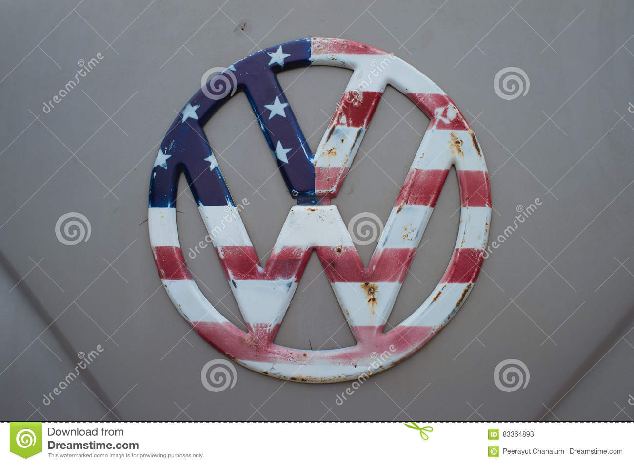 The Flag Pattern Usa On Volkswagen Logo Editorial Stock Photo