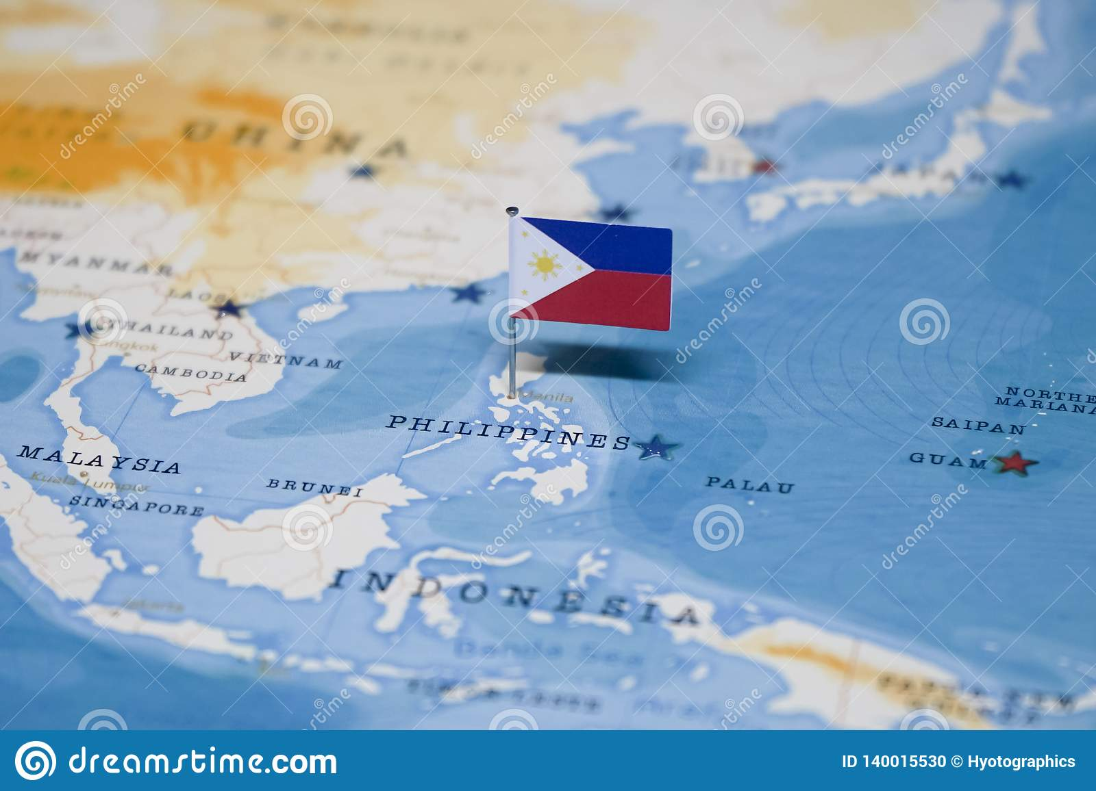 Picture of: The Flag Of Philippines In The World Map Stock Photo Image Of Land Location 140015530