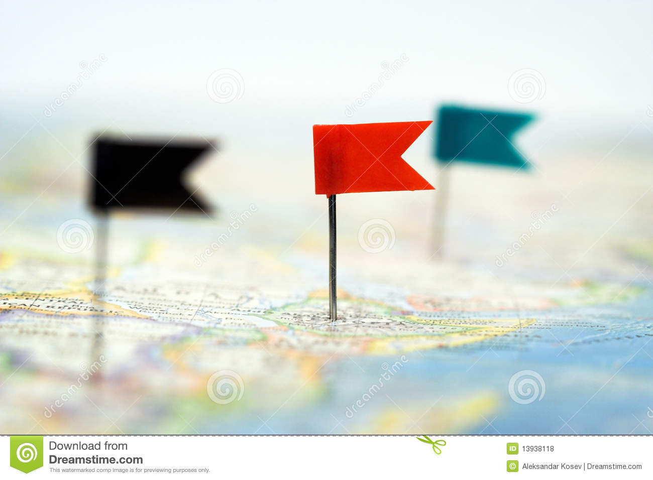 Flag Pins On Map Royalty Free Stock Photos - Image: 13938118