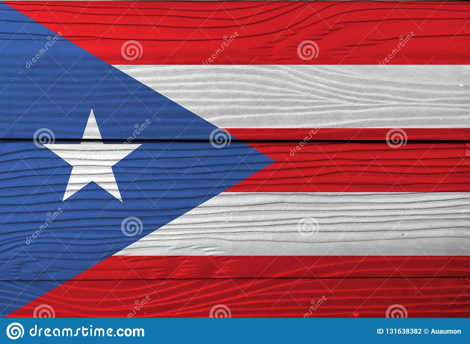Flag Of Puerto Rico On Wooden Wall Background Grunge Puerto Rico