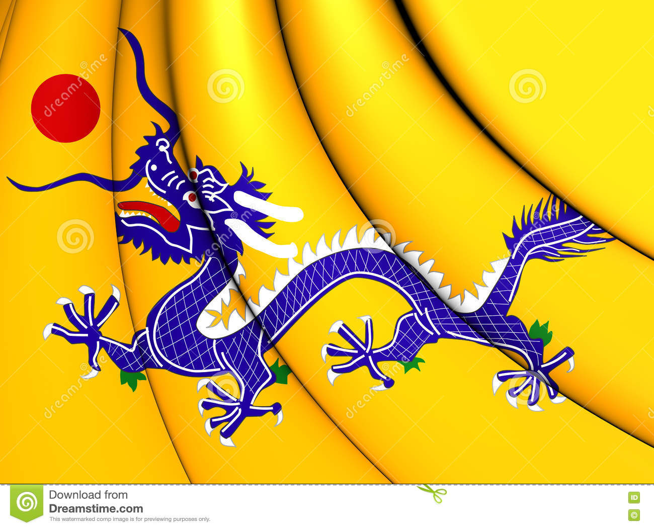 flag of qing dynasty china stock illustration illustration of