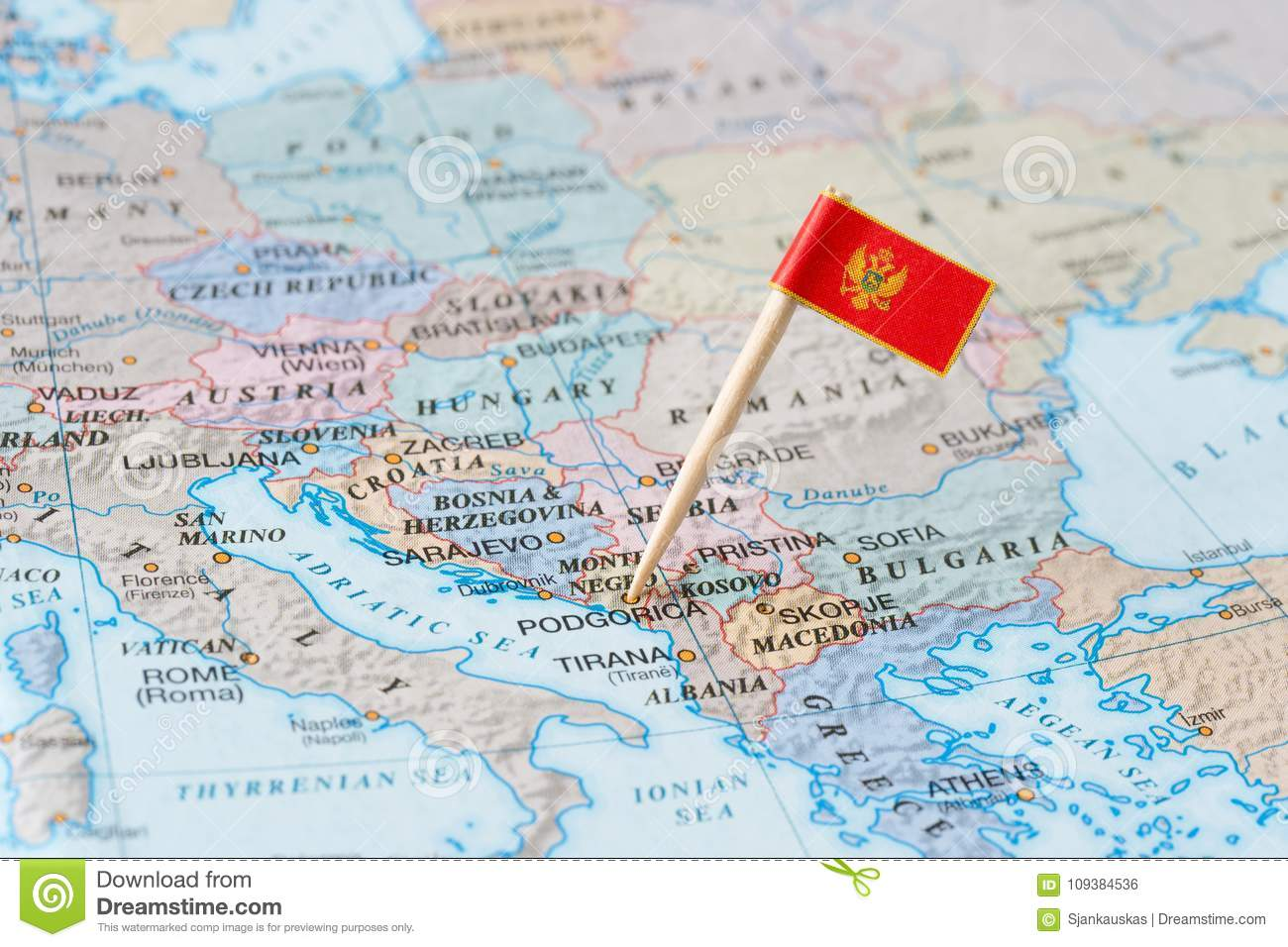 montenegro map and flag pin stock photo image of neigbour closeup