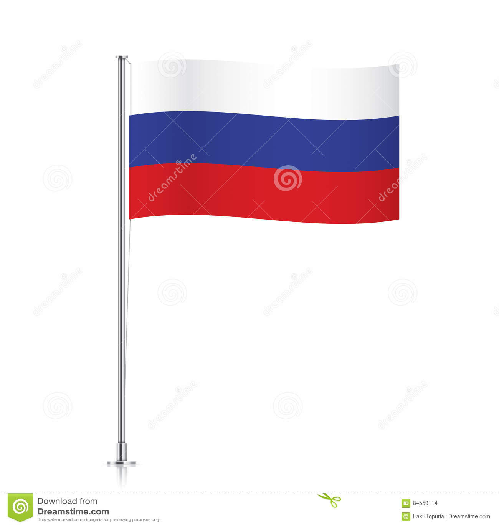 Flag Of Russia Waving On A Metallic Pole Stock Vector