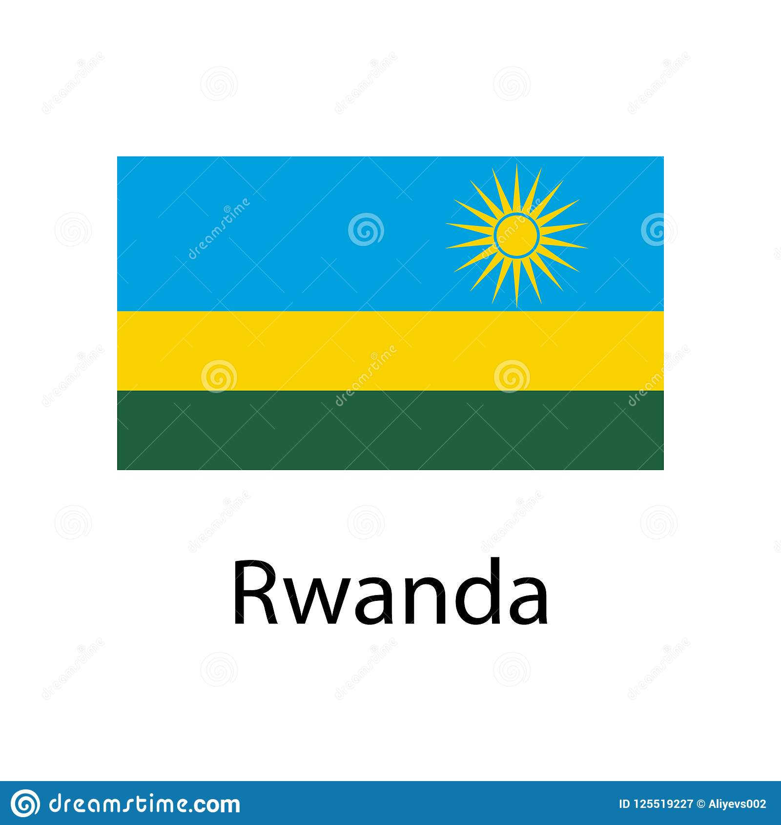 Flag Of Rwanda With Name Icon. Official Colors And Proportion ...