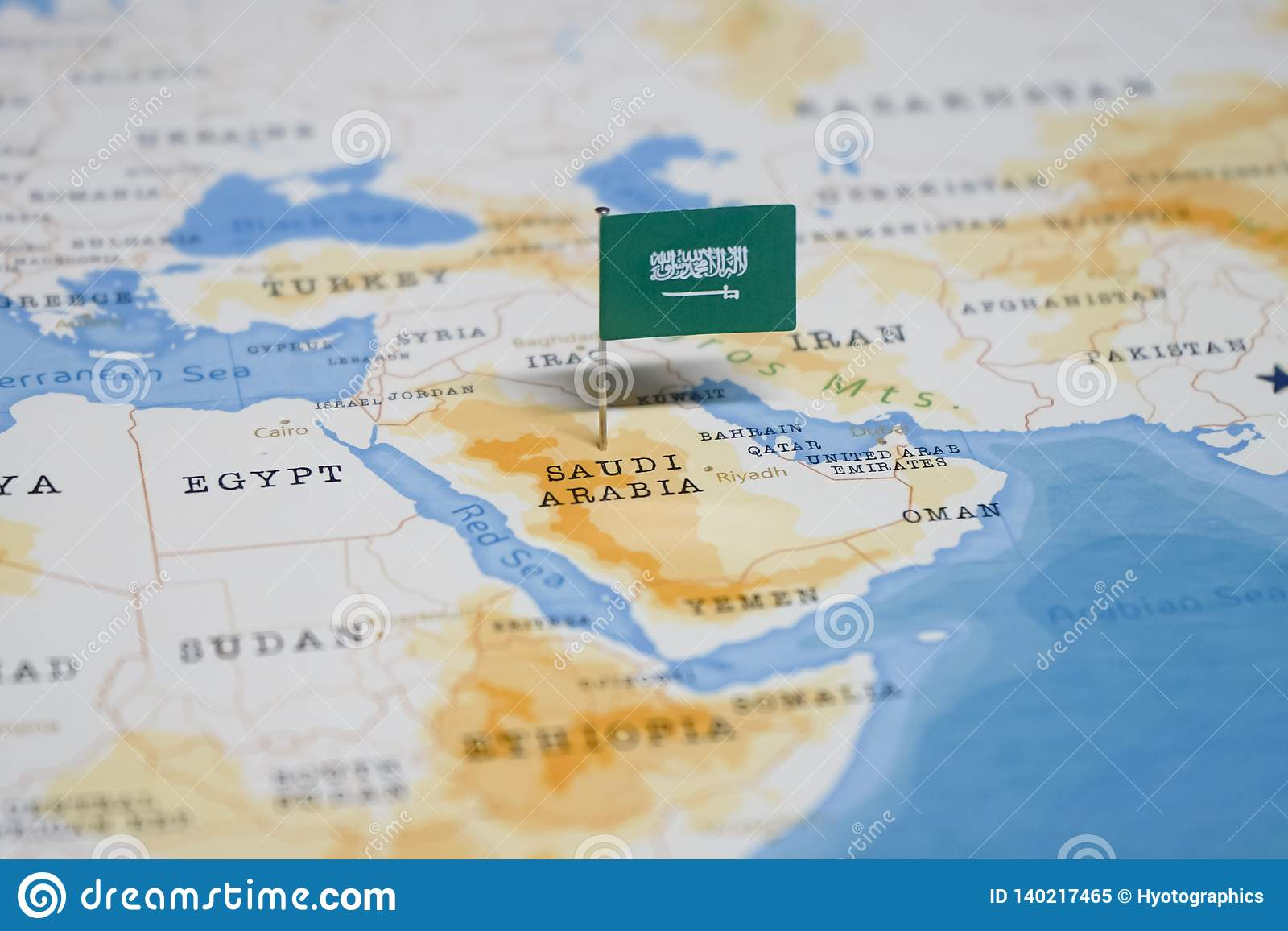 The Flag Of Saudi Arabia In The World Map Stock Image ...
