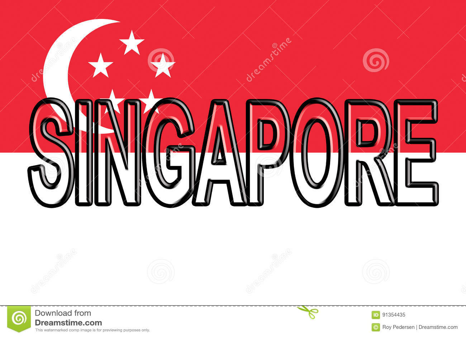 Flag of Singapore Word. stock illustration. Illustration of ...