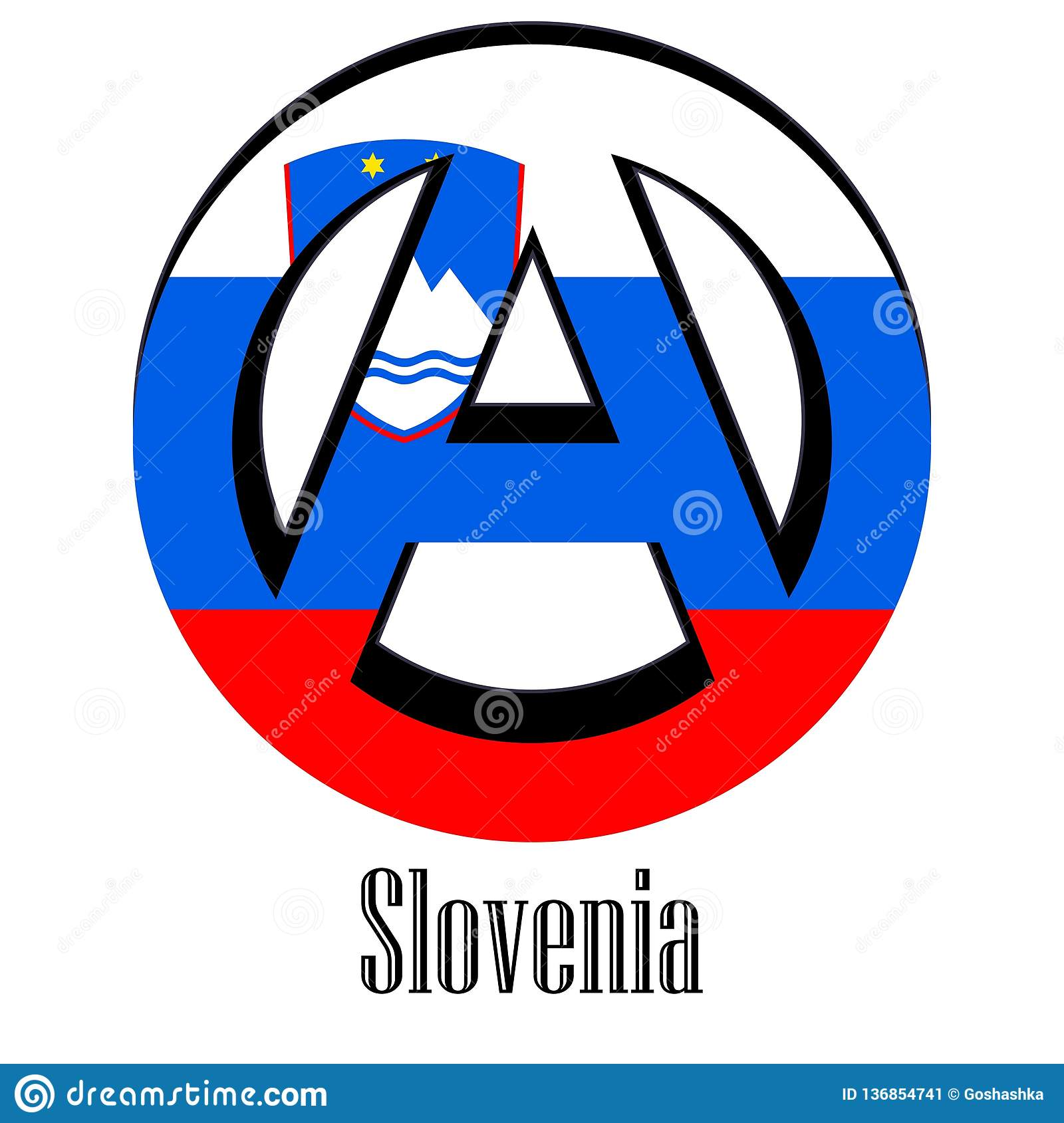 Anarchy Nation Pictures flag of slovenia of the world in the form of a sign of