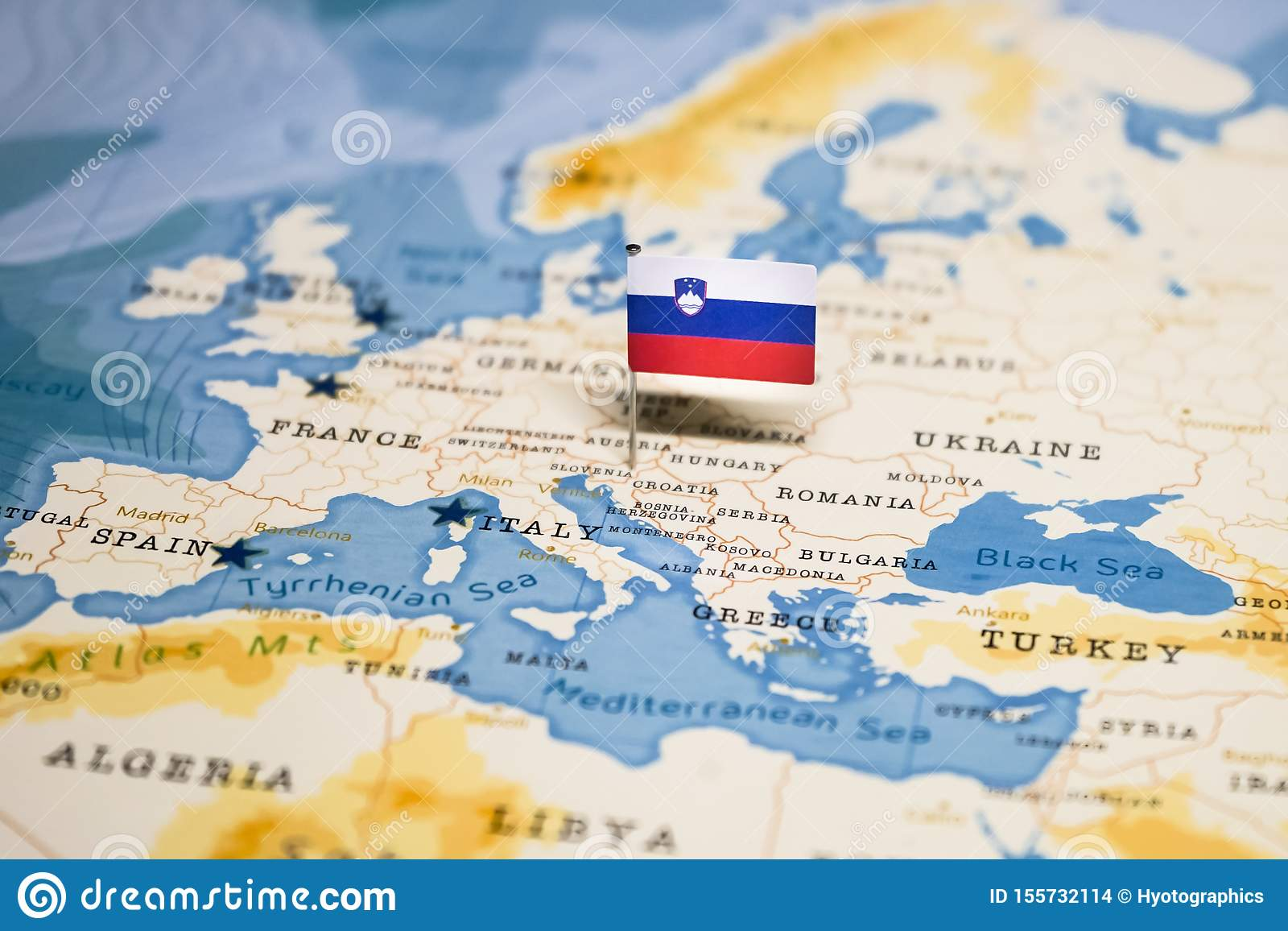 Picture of: The Flag Of Slovenia In The World Map Stock Photo Image Of City Geography 155732114