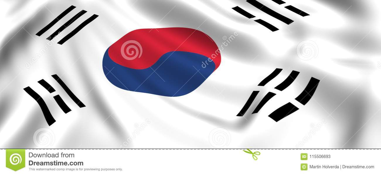 Flag South Korea Waving In The Wind Silk Stock Illustration