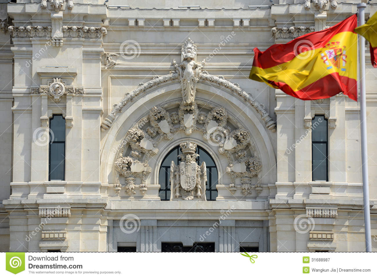 flag of spain in the wind royalty free stock photography image