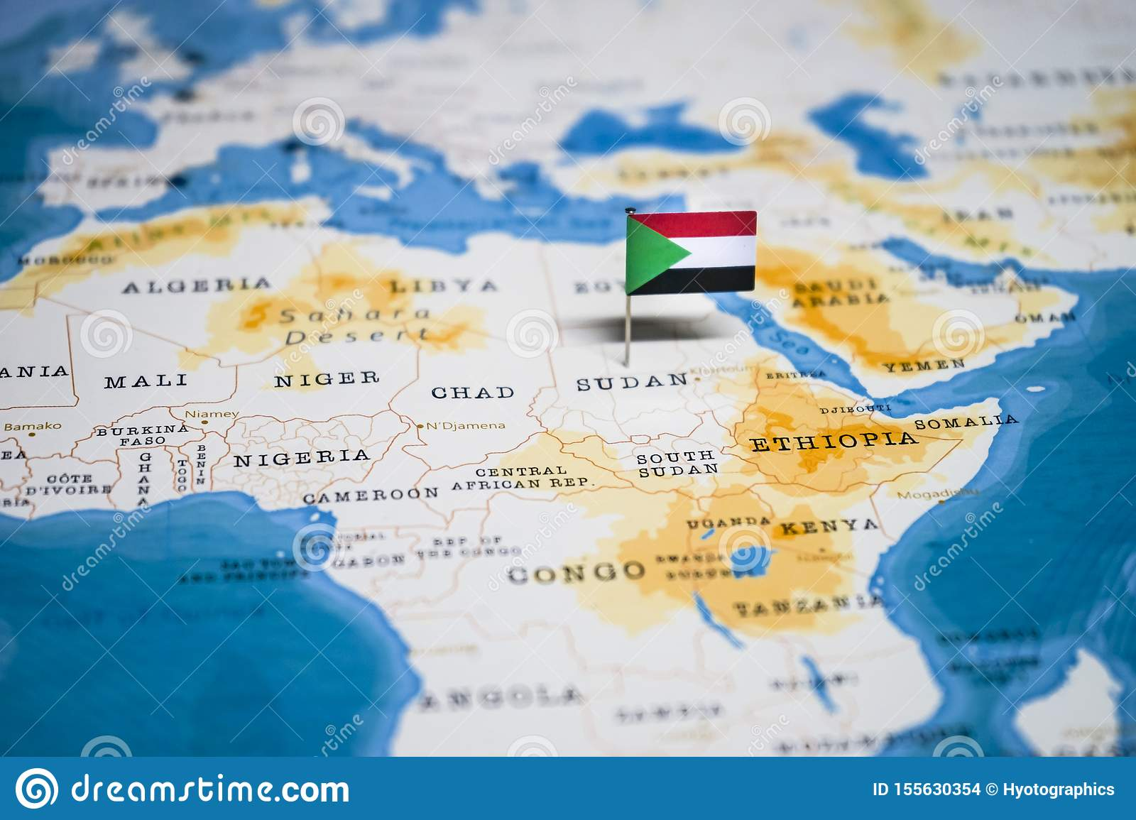 The Flag Of Sudan In The World Map Stock Photo - Image of ...