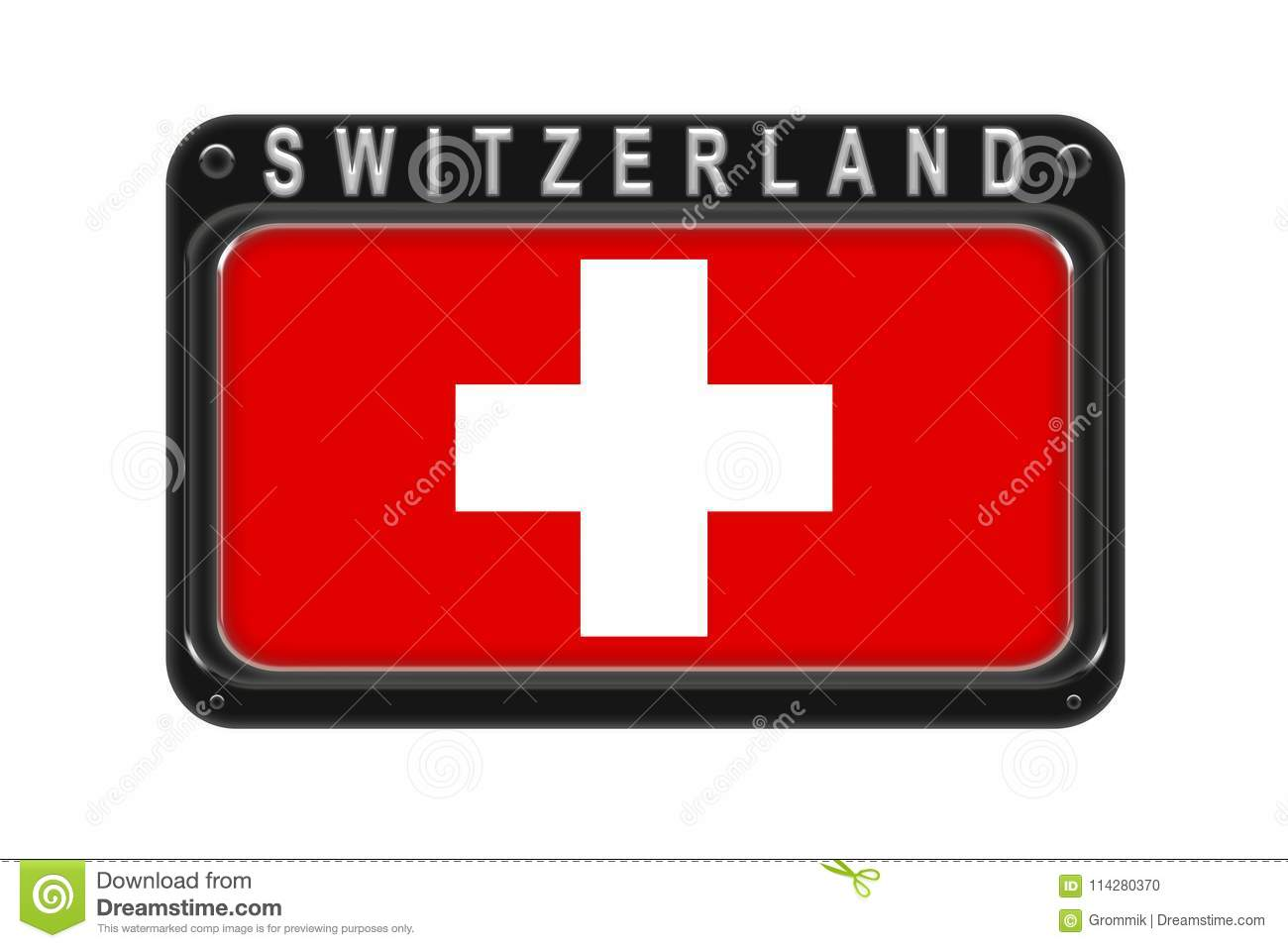 The flag of Switzerland in the frame with rivets on white background