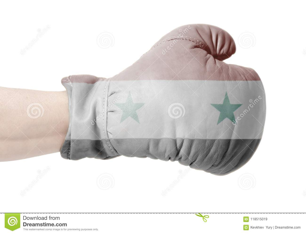 Flag of Syria on boxing glove
