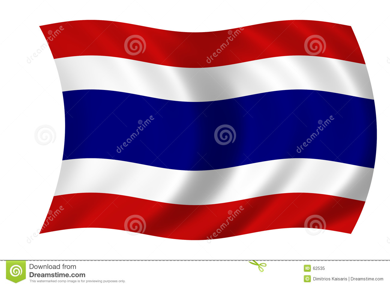 Waving flag of Thailand - thai flag.