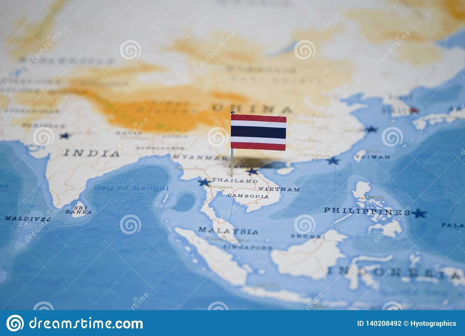 The Flag of thailand in the world map