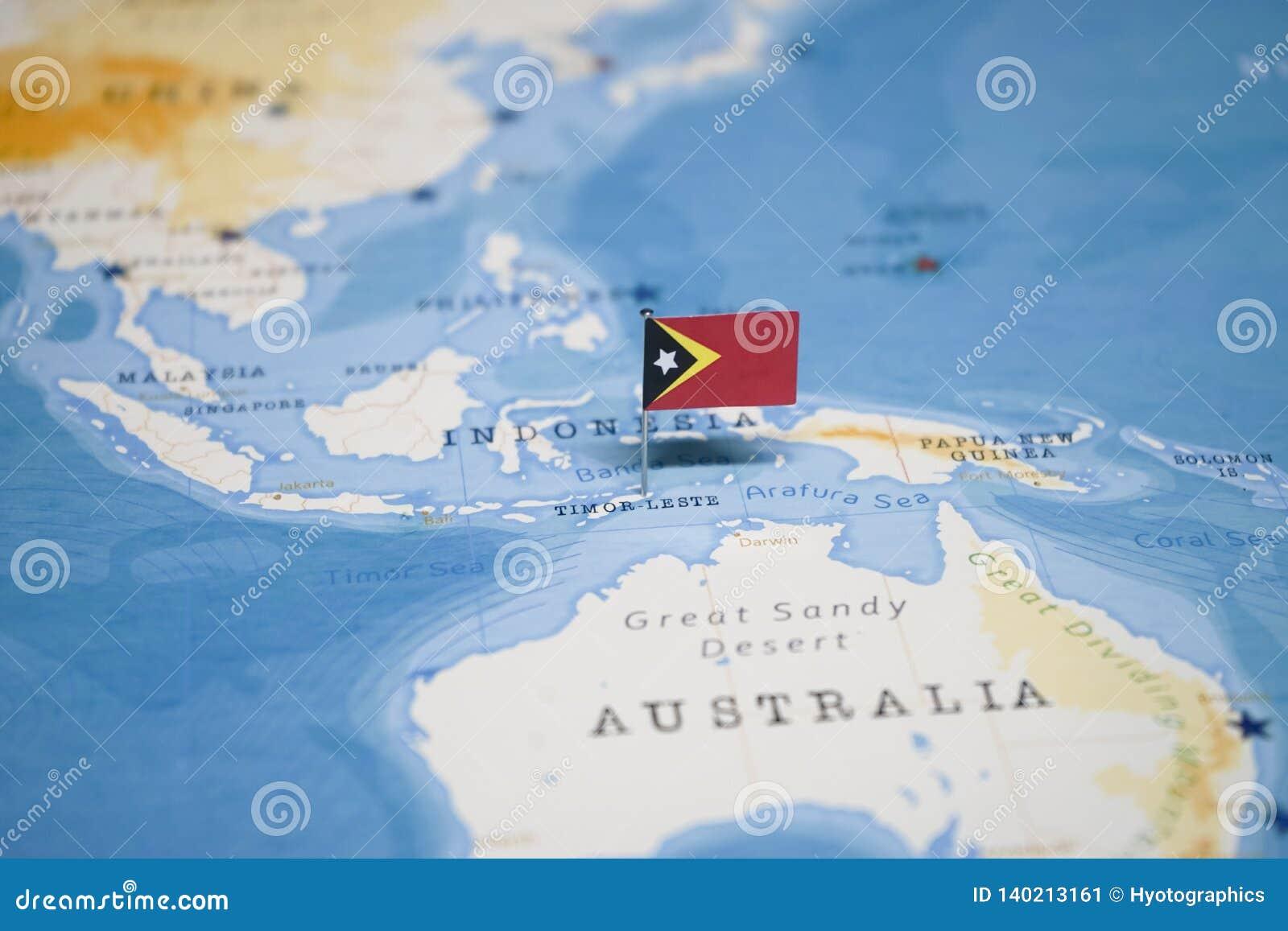 timor leste on world map The Flag Of Timor Leste In The World Map Stock Image Image Of