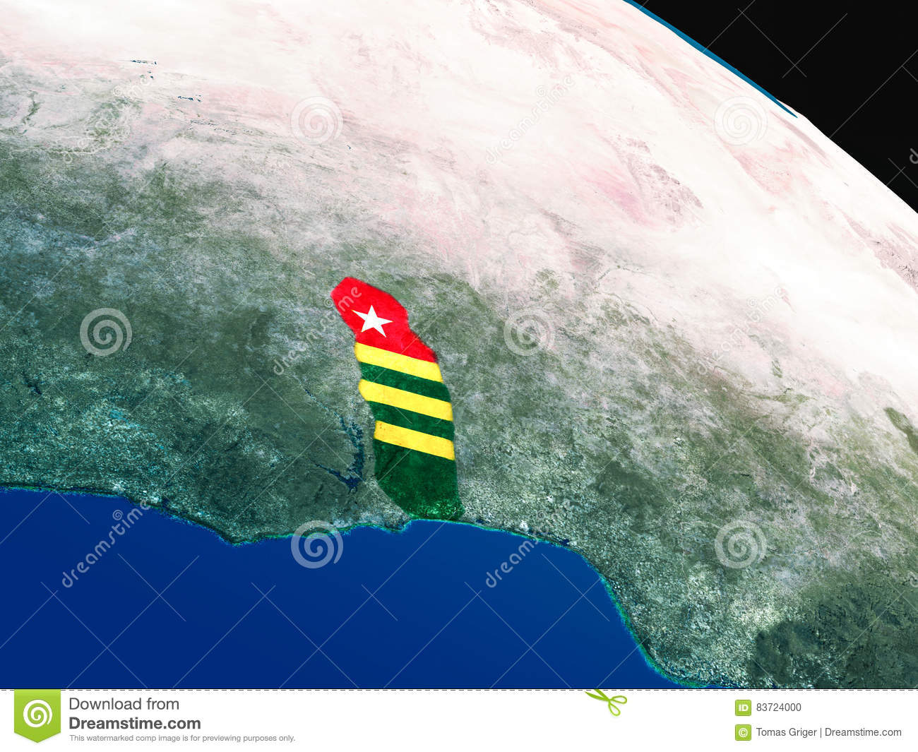 Flag Of Togo From Space Stock Illustration