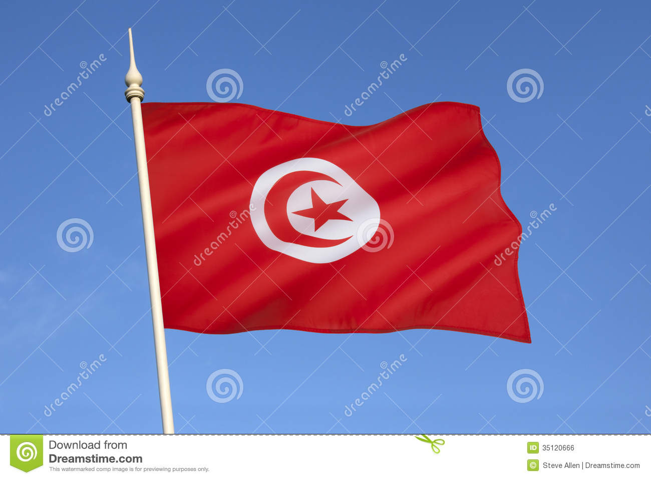 flag of tunisia north africa royalty free stock image