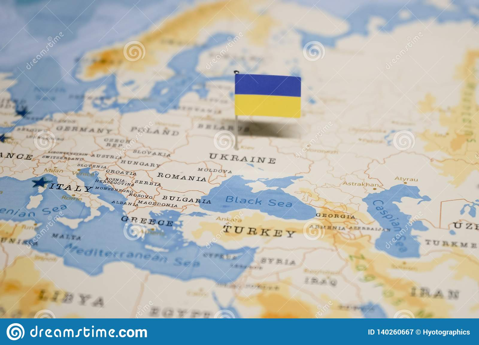 Picture of: The Flag Of Ukraine In The World Map Stock Image Image Of Arrival Locations 140260667