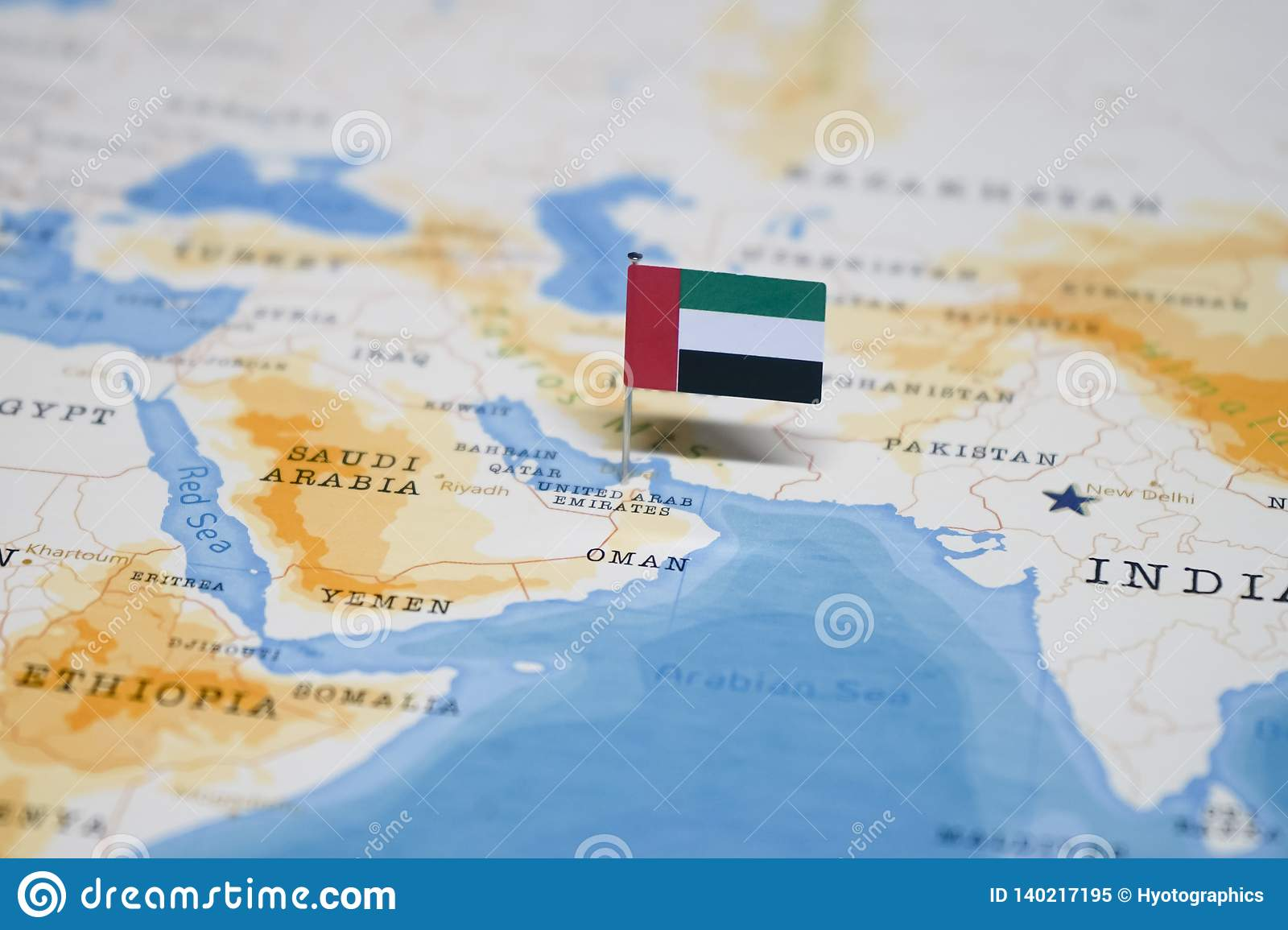 The Flag Of United Arab Emirates In The World Map Stock Image Image Of Country Arrival 140217195