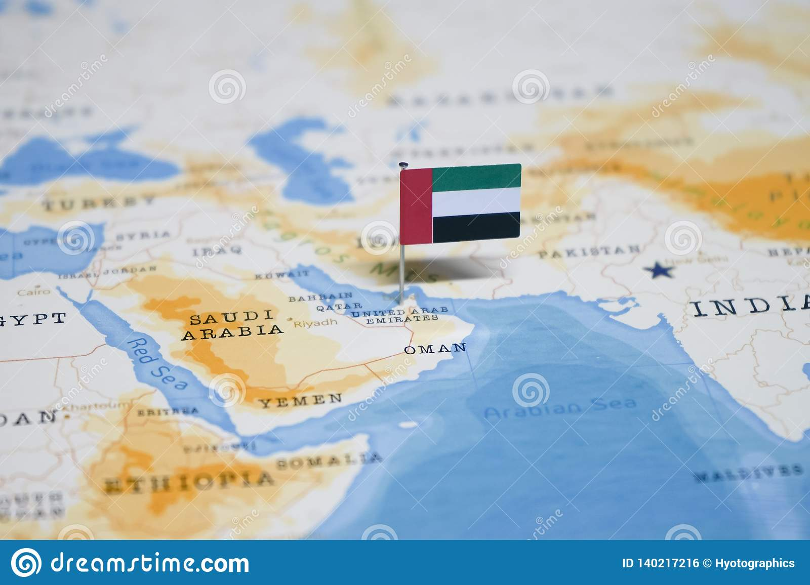 Picture of: The Flag Of United Arab Emirates In The World Map Stock Photo Image Of Globe Departure 140217216
