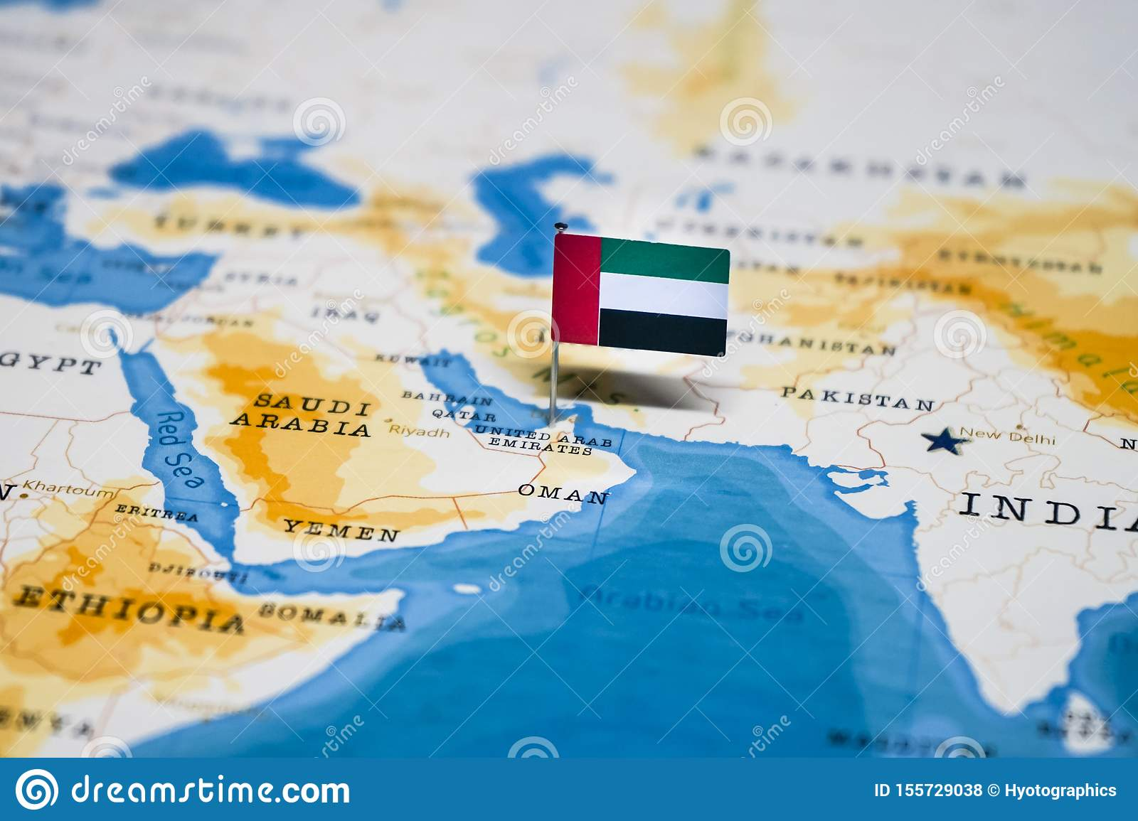 Picture of: The Flag Of United Arab Emirates In The World Map Stock Photo Image Of Education Nations 155729038