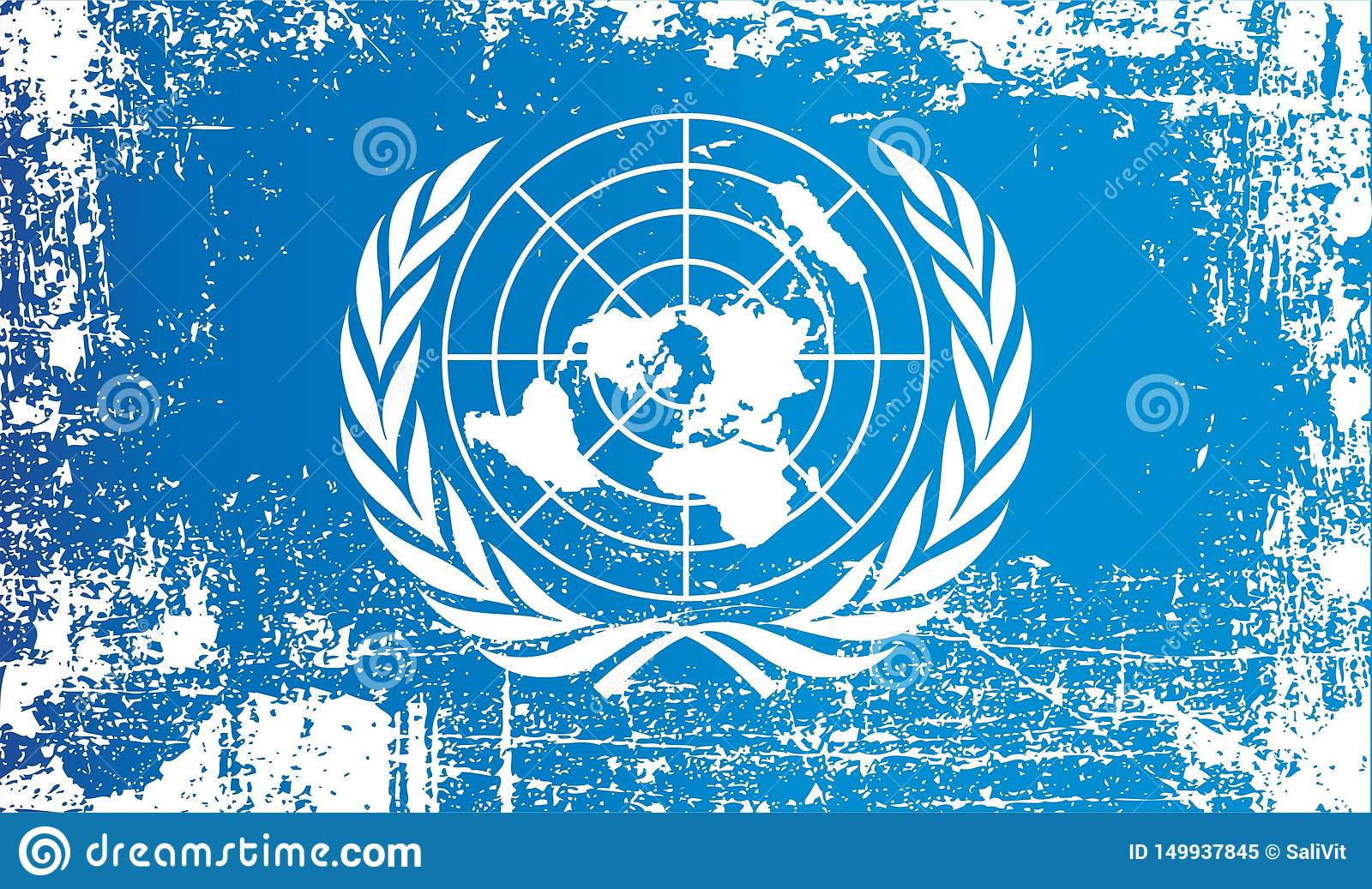 Flag of the United Nations. Wrinkled dirty spots.