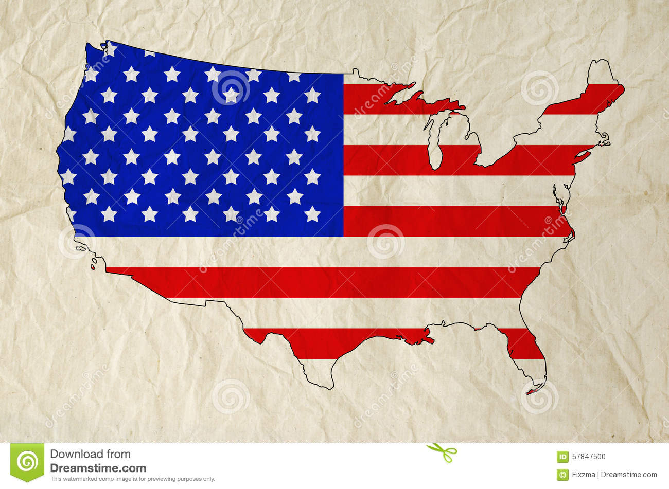 Flag Of United States Of America In USA Map With Old Paper Stock - How old is the united states of america