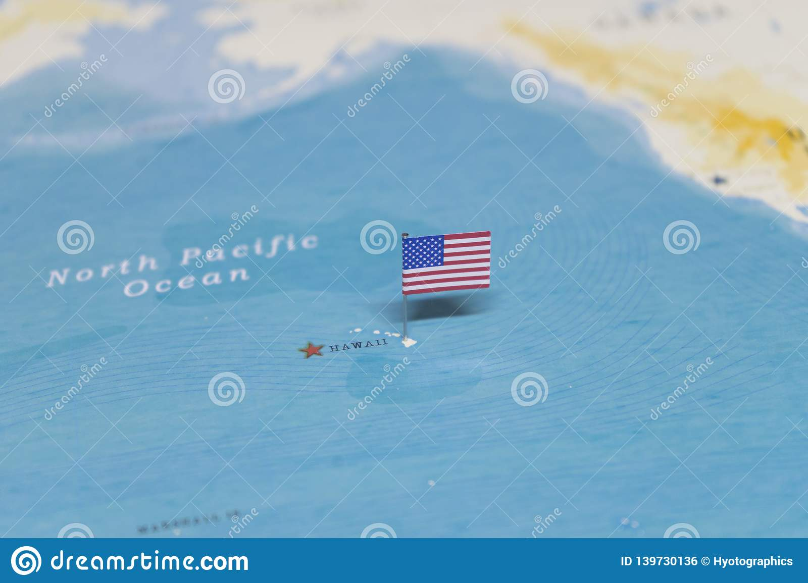 The Flag of the United States on the hawaii in the world map