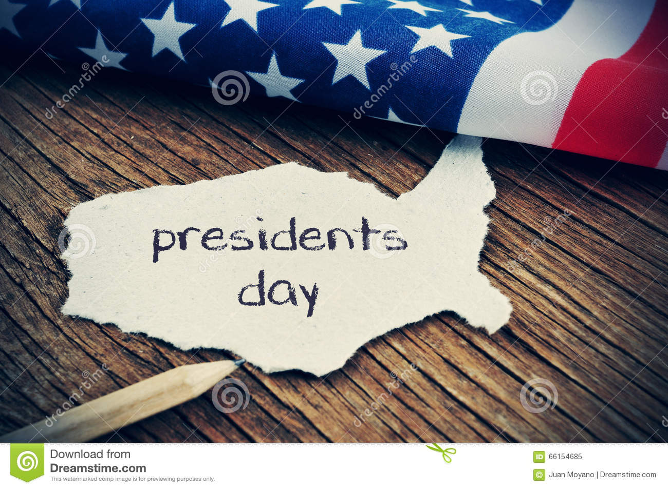 The flag of the US and the text presidents day, vignetted