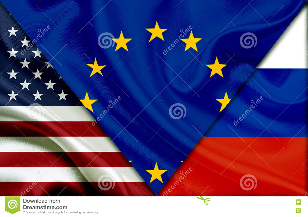 flag of usa flag of european union and flag of russia stock