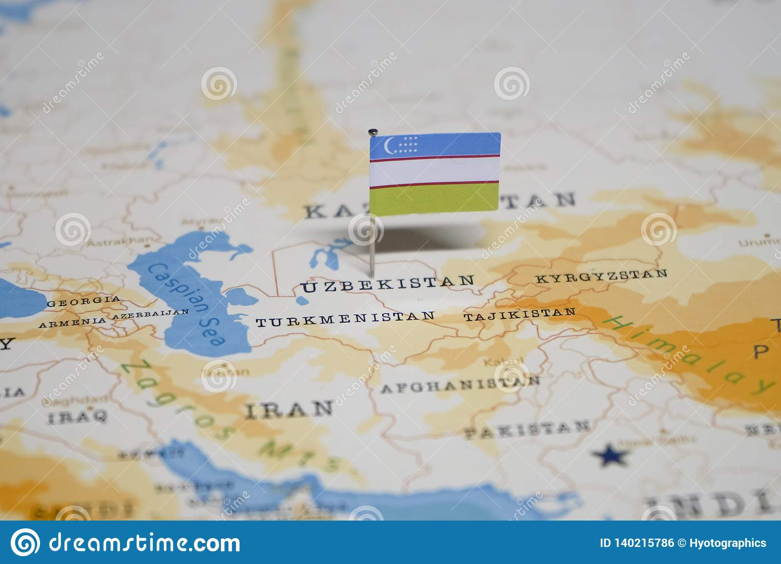 Image of: The Flag Of Uzbekistan In The World Map Stock Photo Image Of Itinerary Nation 140215786