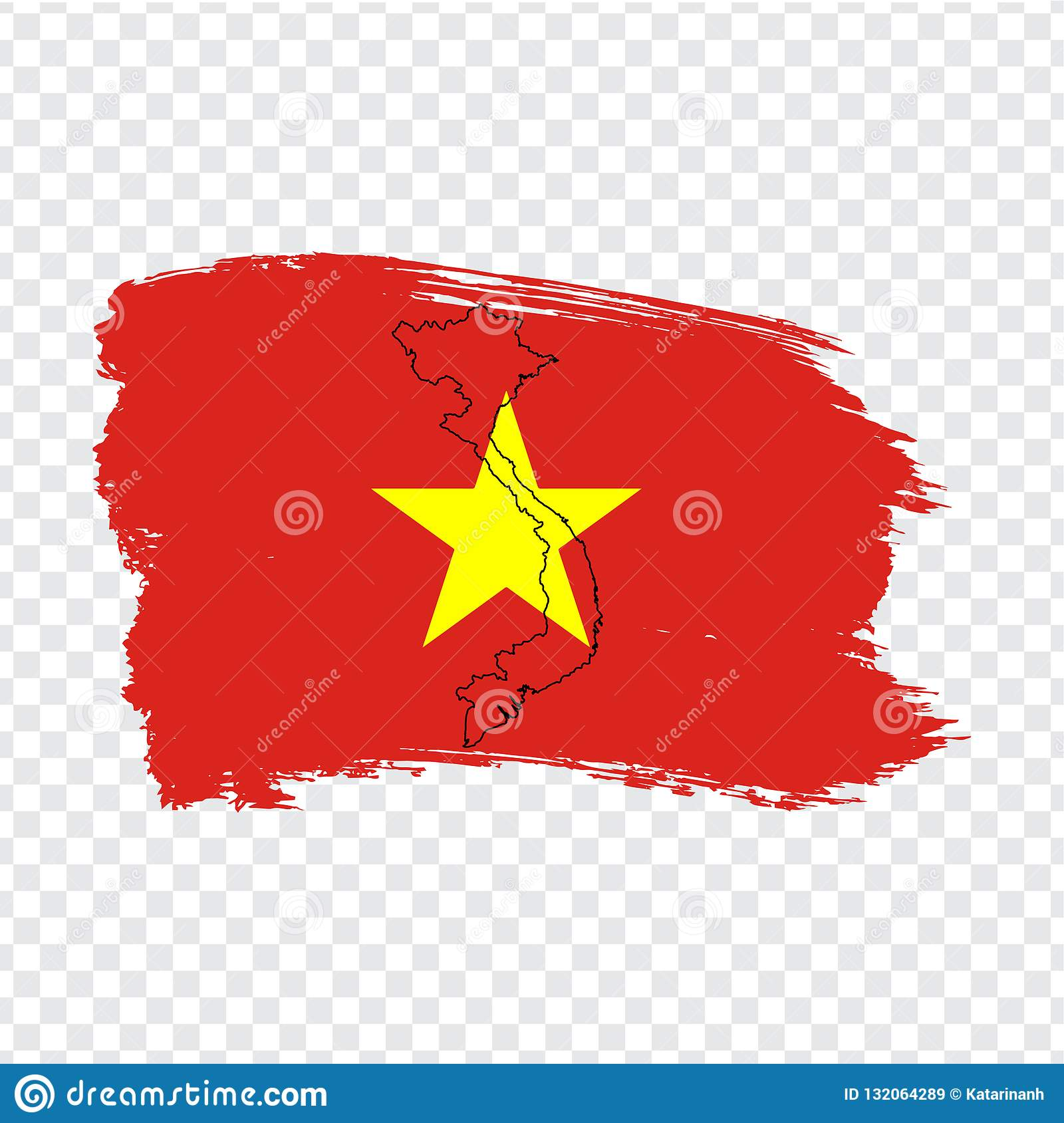 Flag Vietnam From Brush Strokes And Blank Map Vietnam High Quality Map Of Vietnam And Flag On Transparent Background Stock Vector Illustration Of Cartography Graph 132064289