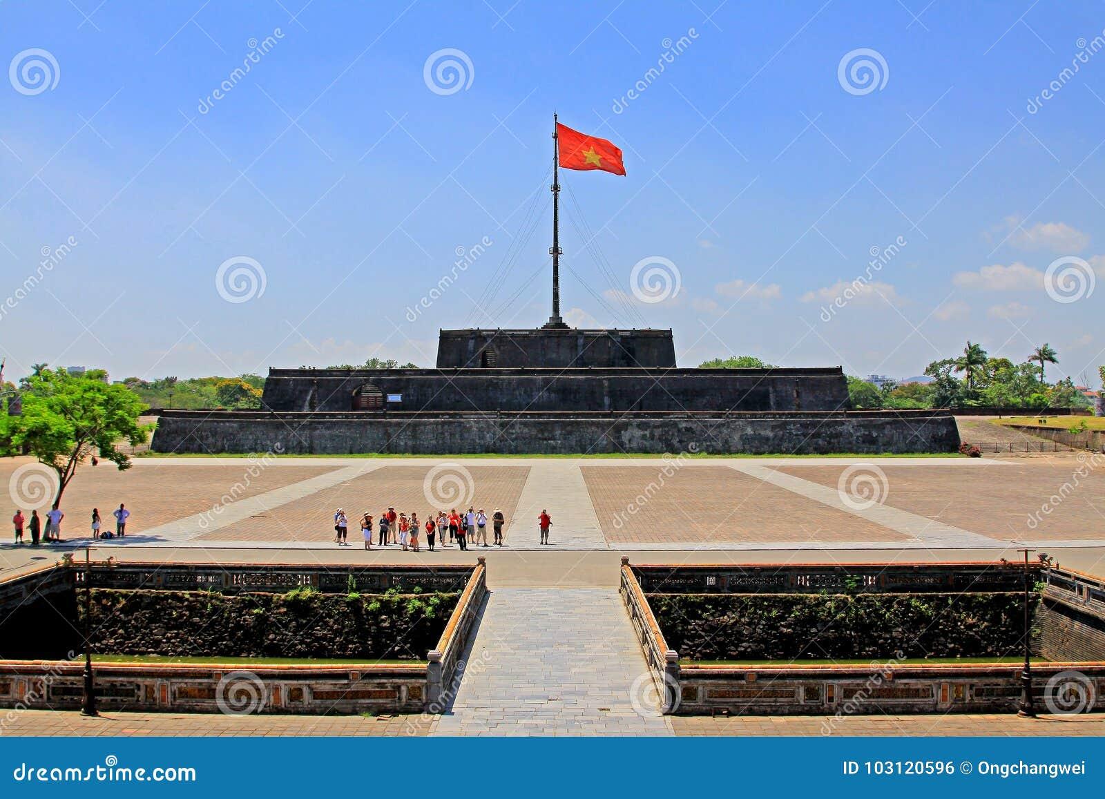 Flag Of Vietnam In Hue Imperial City, Vietnam UNESCO World Heritage